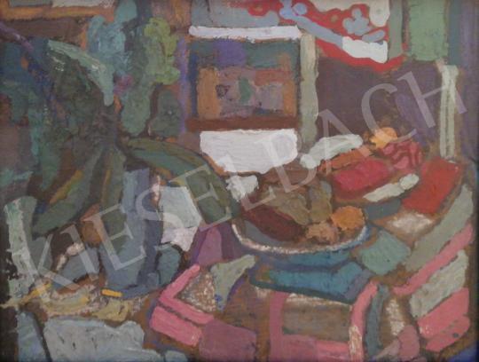 Gruber Béla - Műtermi csendélet gesztenyelevéllel és gyümölccsel, 1963 festménye