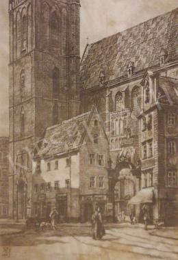 Ismeretlen művész H.J. szignóval - Városi jelenet