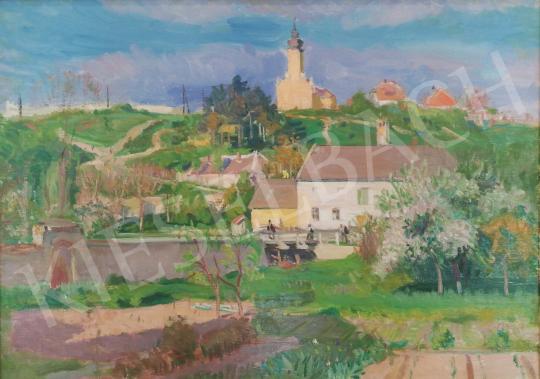 Eladó  Boldizsár István - Rálátásos tájkép falusi templommal festménye