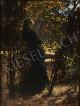Komlóssy Ede - Fekete ruhás nő a ligetben