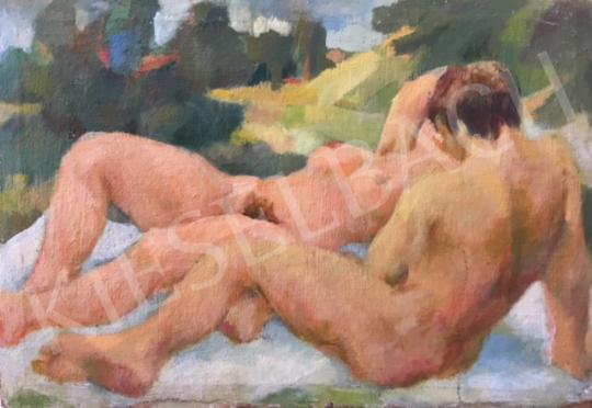 Ismeretlen festő - Aktok szabadban festménye