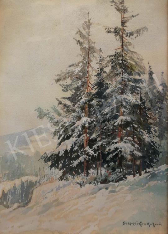 For sale Szepesi Kuszka, Jenő - Winter Forest Detail 's painting