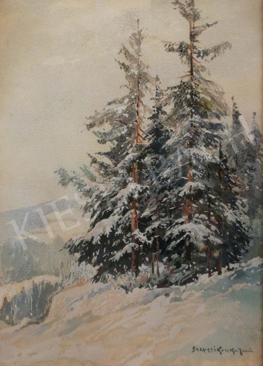 Eladó Szepesi Kuszka Jenő - Téli erdőrészlet festménye