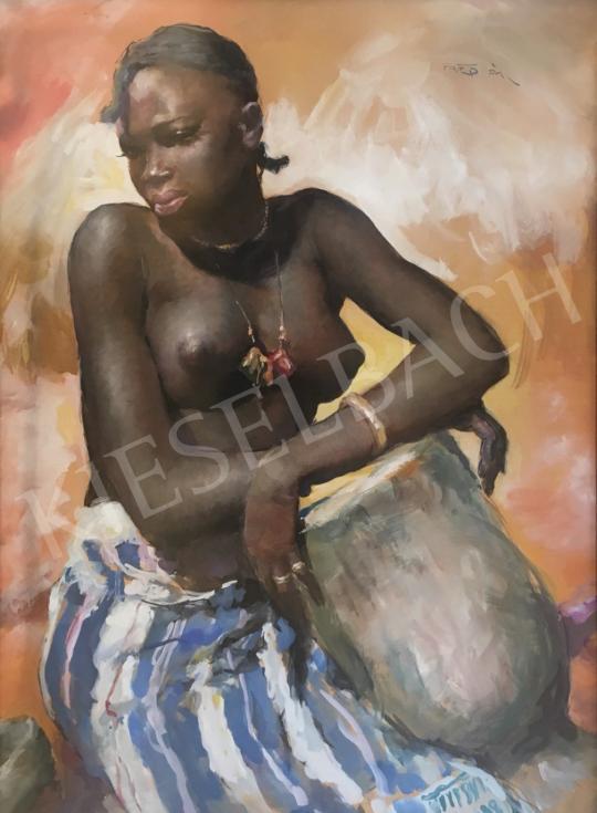 Fried Pál - Egzotikus barna szépség festménye