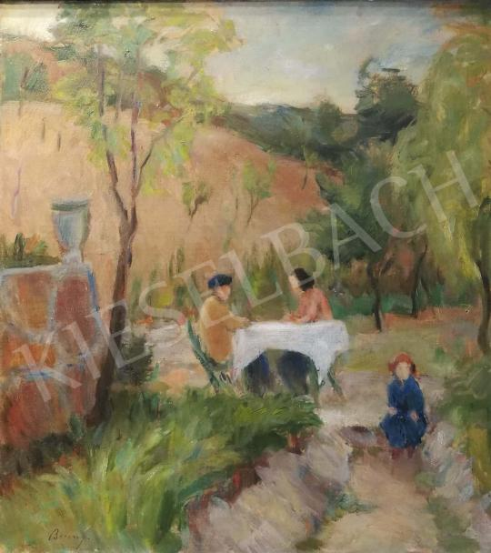 Berény Róbert - Uzsonna a kertben festménye