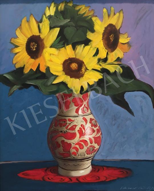 Eladó Schéner Mihály - Napraforgók vázában, 1976 festménye