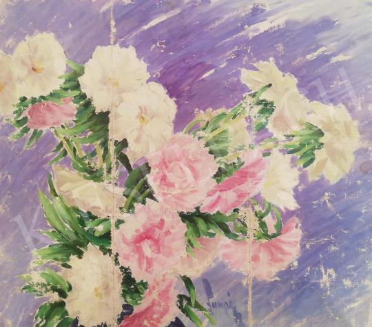 Eladó Lampé Sándor - Rózsaszín virágkompozíció festménye