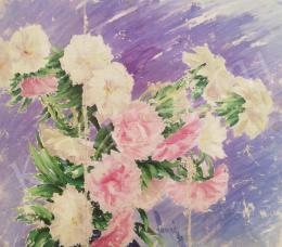 Lampé Sándor - Rózsaszín virágkompozíció