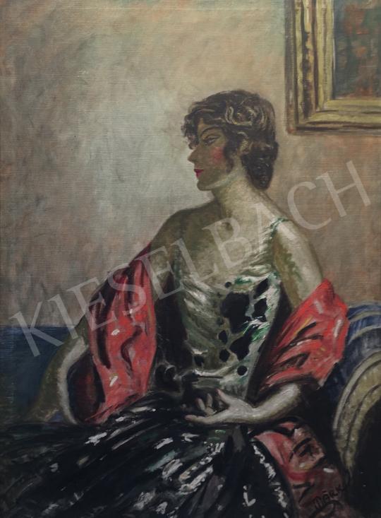 Eladó Márk Lajos - Hölgy elegáns ruhában festménye