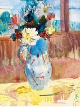 Eladó  Bernáth Aurél - Virágcsendélet háttérben a Balatonnal festménye