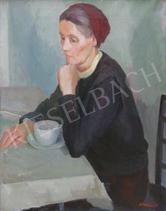 Döbröczöni, Kálmán - Grandmother (A Cup of Caffe) painting