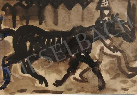 Duray Tibor - Lóvezető festménye
