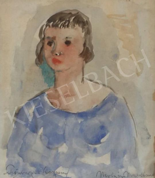 Eladó  Schönberger Armand - Fiatal lány kék ruhában festménye