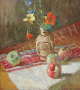 Gyelmis Lukács János - Asztali csendélet virággal és gyümölccsel