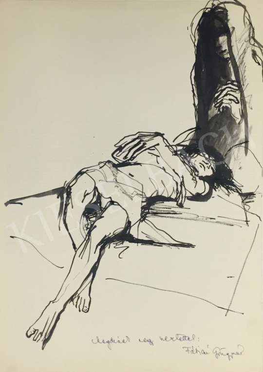 Eladó Fábián Gyöngyvér - Fekvő női akt festménye