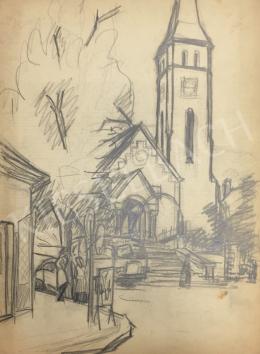 Húth István - Templom előtti életkép