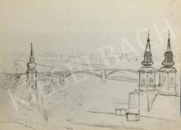 Húth István - Városkép híddal