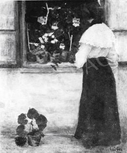 Czóbel Béla - Leány virágos ablakkal, 1904