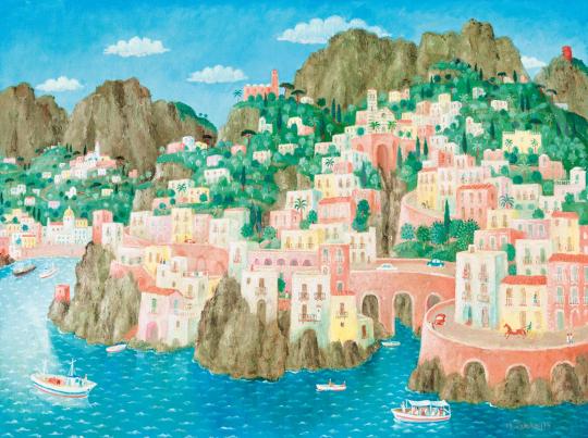 Pekáry István - Olasz tengerpart (Mediterrán nyár), 1974 | 58. Tavaszi Aukció aukció / 1 tétel