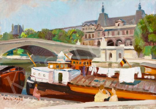 Scholz Erik - Párizsi Szajna-part háttérben a Louvre-ral | 58. Tavaszi Aukció aukció / 19 tétel