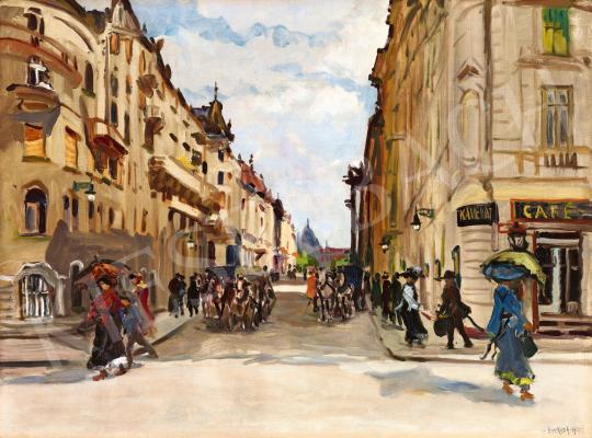 Berkes Antal - Kávéház a századfordulós Budapesten (Nyári zápor, 1912) | 58. Tavaszi Aukció aukció / 20 tétel