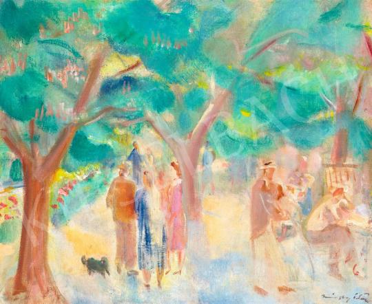 Márffy Ödön - Vasárnap délután a parkban, 1930 körül | 58. Tavaszi Aukció aukció / 24 tétel