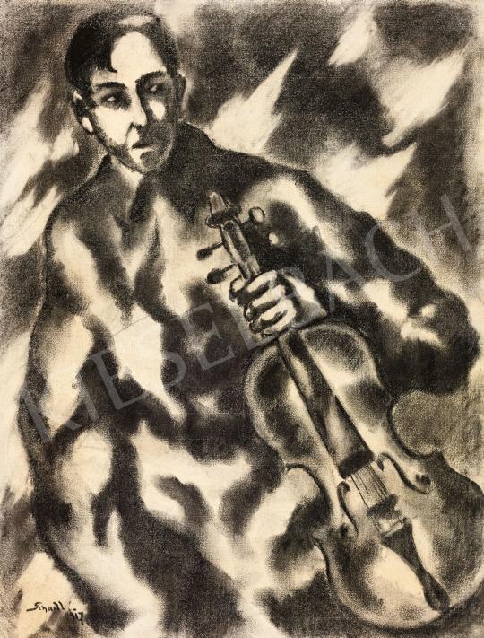 Schadl János - Fiatal fiú brácsával, 1917 | 58. Tavaszi Aukció aukció / 25 tétel
