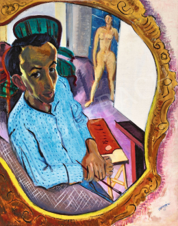 Vörös, Géza - Self-Portrait in Mirror with Easel and Model, 1933