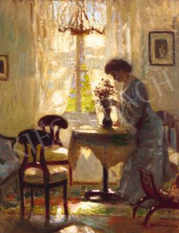 Iványi Grünwald Béla - Fehér szoba (Virágot rendező nő kék ruhában), 1905 körül