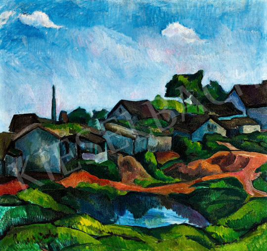 Perlrott Csaba, Vilmos - Landscape with Houses, between 1915-1920 | 58th Spring Auction auction / 90 Item