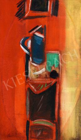 Bálint Endre - Kék kancsós csendélet vörös szobában, 1947