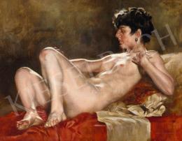 Karlovszky Bertalan - Lány vörös drapériával