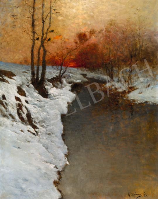 K. Spányi Béla - Téli folyópart alkonyi fényekkel | 58. Tavaszi Aukció aukció / 118 tétel