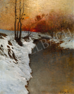 K. Spányi Béla - Téli folyópart alkonyi fényekkel