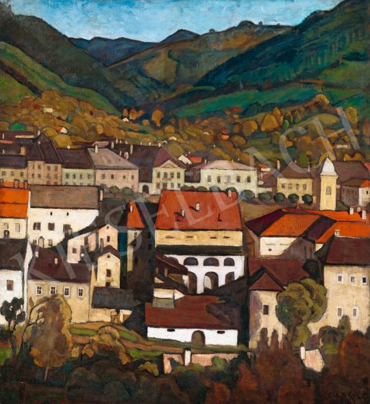 Gábor Jenő - Város régi házakkal (Pécs), 1918 | 58. Tavaszi Aukció aukció / 123 tétel