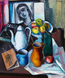 Schönberger Armand - Műtermi csendélet festménnyel és folyóirattal