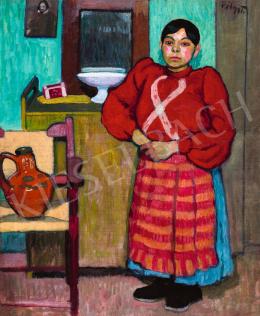 Pólya Tibor - Piros blúzos lány zöld szobában, 1910 körül