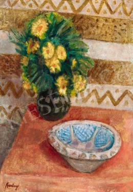 Berény Róbert - Műtermi csendélet virágokkal és Gorka kerámiával