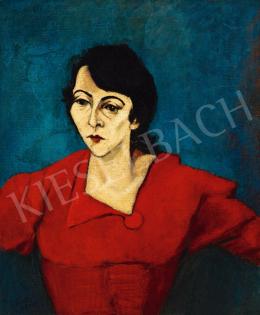 Tihanyi Lajos - Vörös ruhás nő zöld háttérben (Mrs. Karl portréja), 1929
