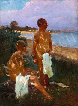 Ismeretlen magyar festő 1910 körül (feltehetően Mérő István) - Tóparton