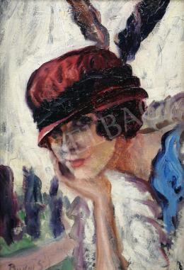 Budai Sándor - Art deco kalapos hölgy