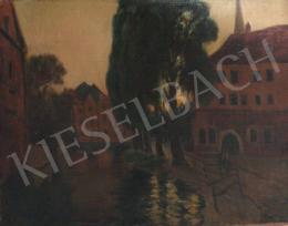 Gimes Lajos - Városkép folyóval ás fasorral