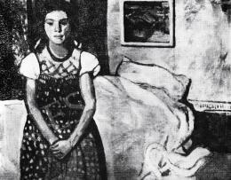 Czóbel Béla - Kislány ágy előtt, 1905