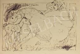 Reich Károly - Anya gyermekkel, lóval, csikóval