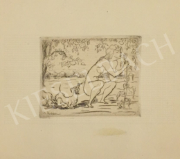 Kernstok, Károly - Woman Nude with Dogs