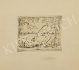 Kernstok Károly - Női akt kutyákkal