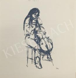Ismeretlen művész olvashatatlan szignóval - Csellózó nő