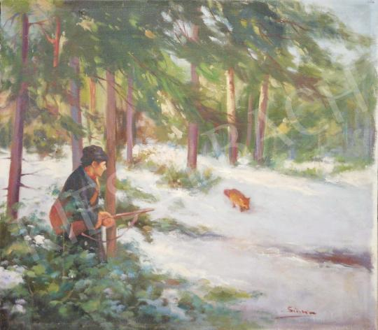 For sale Sinka, Mátyás - Fox Hunting in Winter Forest 's painting