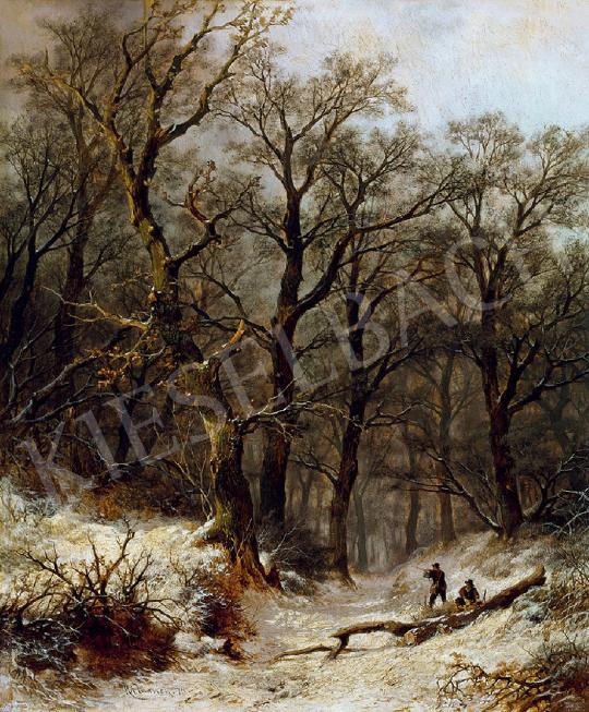 Eladó Haanen, Remy van - Téli vadászat, 1874 festménye