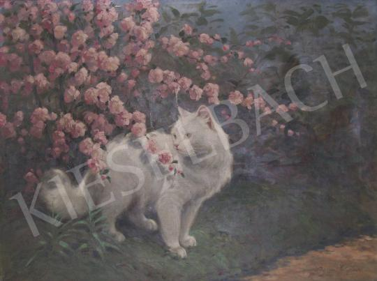 Rainerné-Istvánffy, Gabriella - Cat with a Blossom Bush painting
